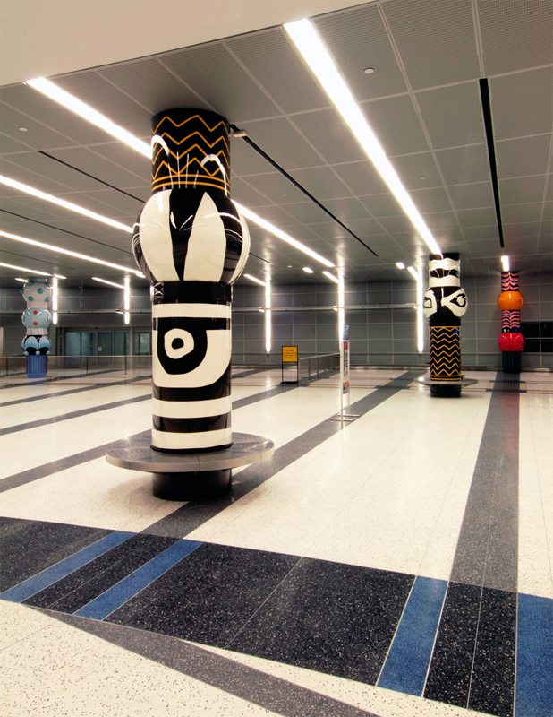 Installation of artwork by Jim Hirschfield at an airport