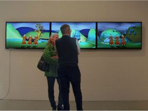 Installation of video art by Sabine Gruffat