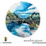 "This is a promotional image for the Weatherspoon's Art on Paper exhibition. The image is a photograph of a small watercolor and gouache painting called ""Gippsland"" by Arden Bendler Browning. The painting is done on a circular piece of paper and goes all the way to the edge of the paper. The painting is an impressionistic rendering of a river scene, with a large inverted triangle of blue and white at the top that represents the sky, and a large blue and white triangle on the bottom that represents the river reflecting the sky. In the river, near the poing there both triangles converge, is a small group of people completely blacked-out in silhouette, standing on small boats. In the bottom right of the frame there appears to be a person paddling a boat out of the frame. On both sides of the river there is lush greenery, represented as two triangles on their sides with their points converging in the middle as well. On the bank of the river on the right side, the greenery is behind what appears to be some kind of wooden structure, likely that holds small boats. This circular canvas sits on a white background, and to the bottom left of the painting the UNC Greensboro logo appears: A golden shield with a blue and white illustration of Minerva, all outlined in gray, above UNC GREENSBORO, with UNC written in gray and GREENSBORO written in navy blue, all underlined in gold. Below the bottom right of the painting black text reads ""weatherspoon art museum""."