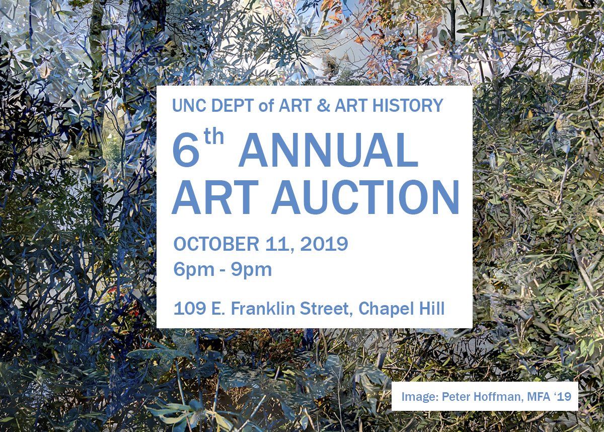 Poster graphic advertising the 6th annual art auction on October 11, 2019 from 6-9 pm.