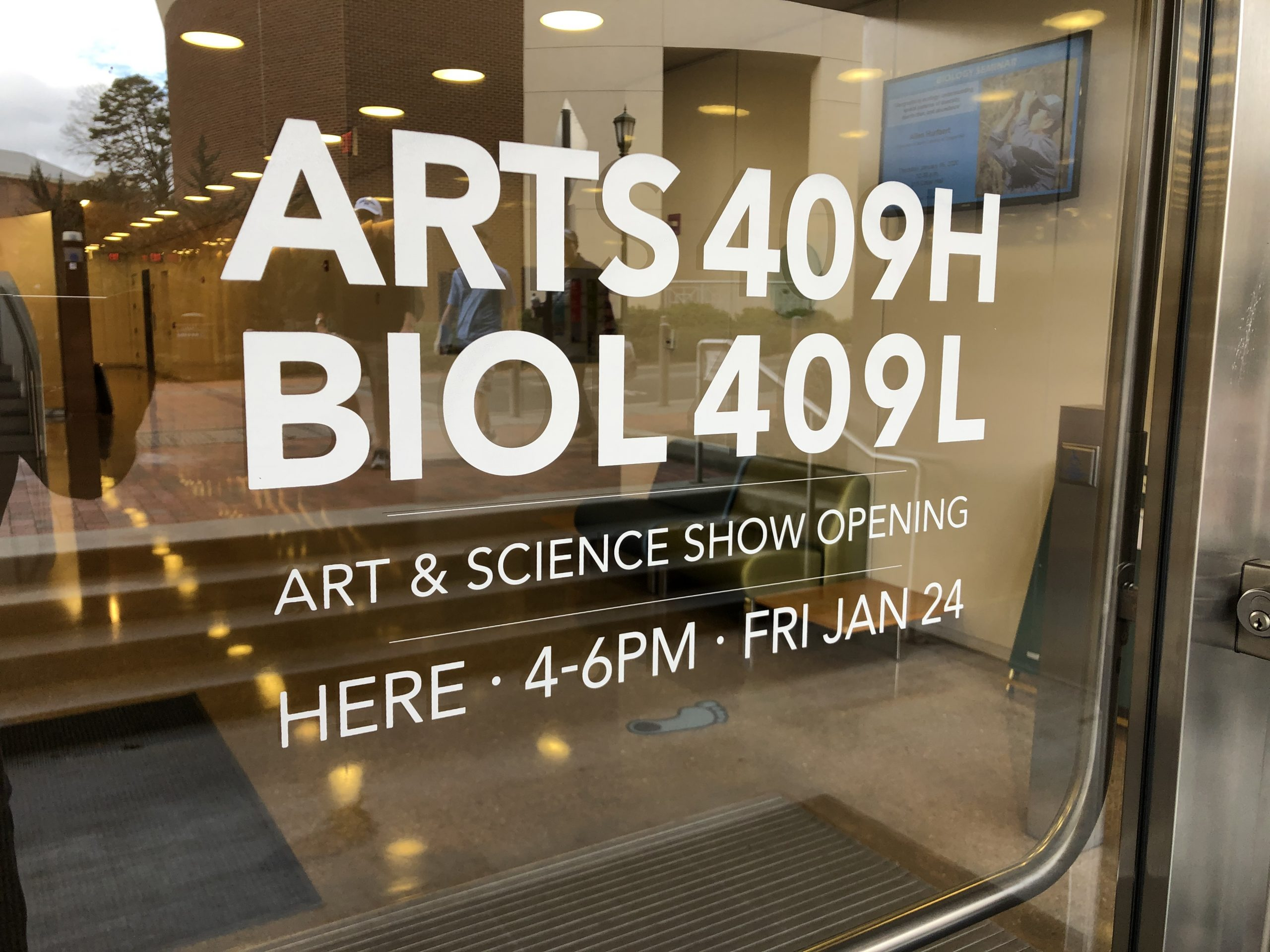 Poster graphic for ARTS 409H/BIOL 409L Art and Science Show