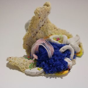 Playground #3 Embroidery, plastic beads, and clay on fabric. 7x5x3.5 inch, 2019.