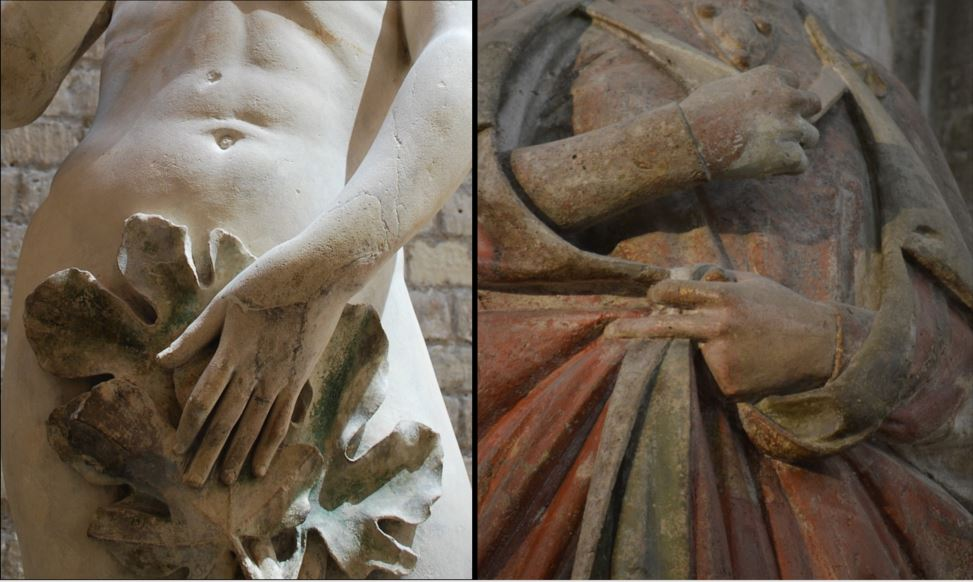Detail images of torsos of Gothic sculpture showing hands grasping a fig leaf and items of clothing