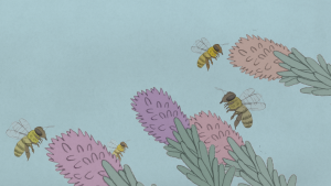 Hasley Hills Still Frame (bees buzzing around lilac and pink flowers)