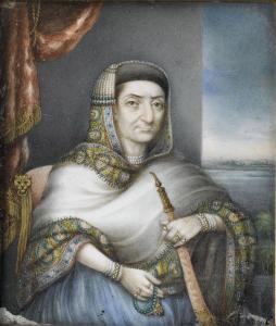 Artist Unknown, Begum Samru, c. 1815, oil on ivory (3.7 in x 3.2 in) Department of Islamic Arts, Louvre