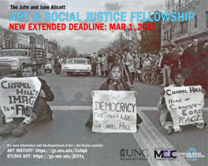 Poster graphic advertising the Allcott Social Justice and Art Fellowship, Summer 2021
