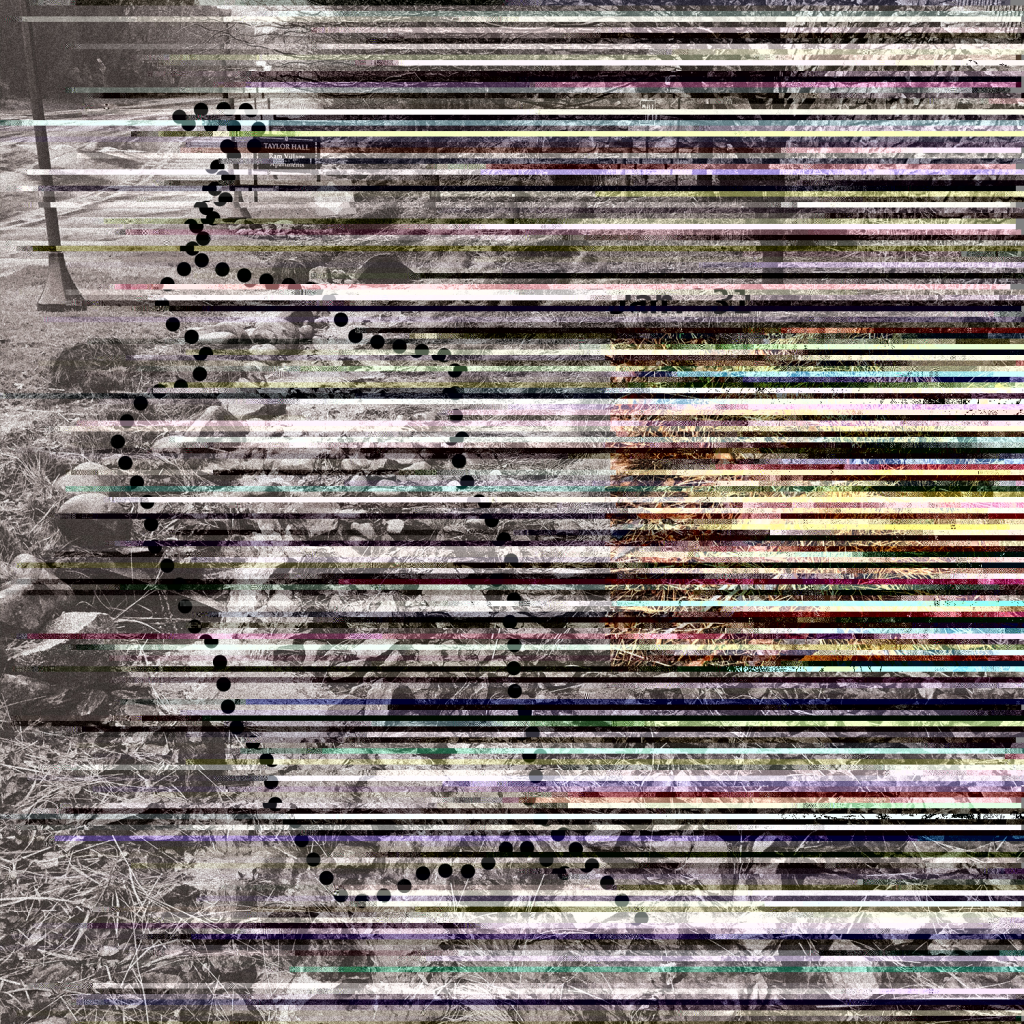 """""""glitched"""" version of a black and white photograph of a street and yard"""