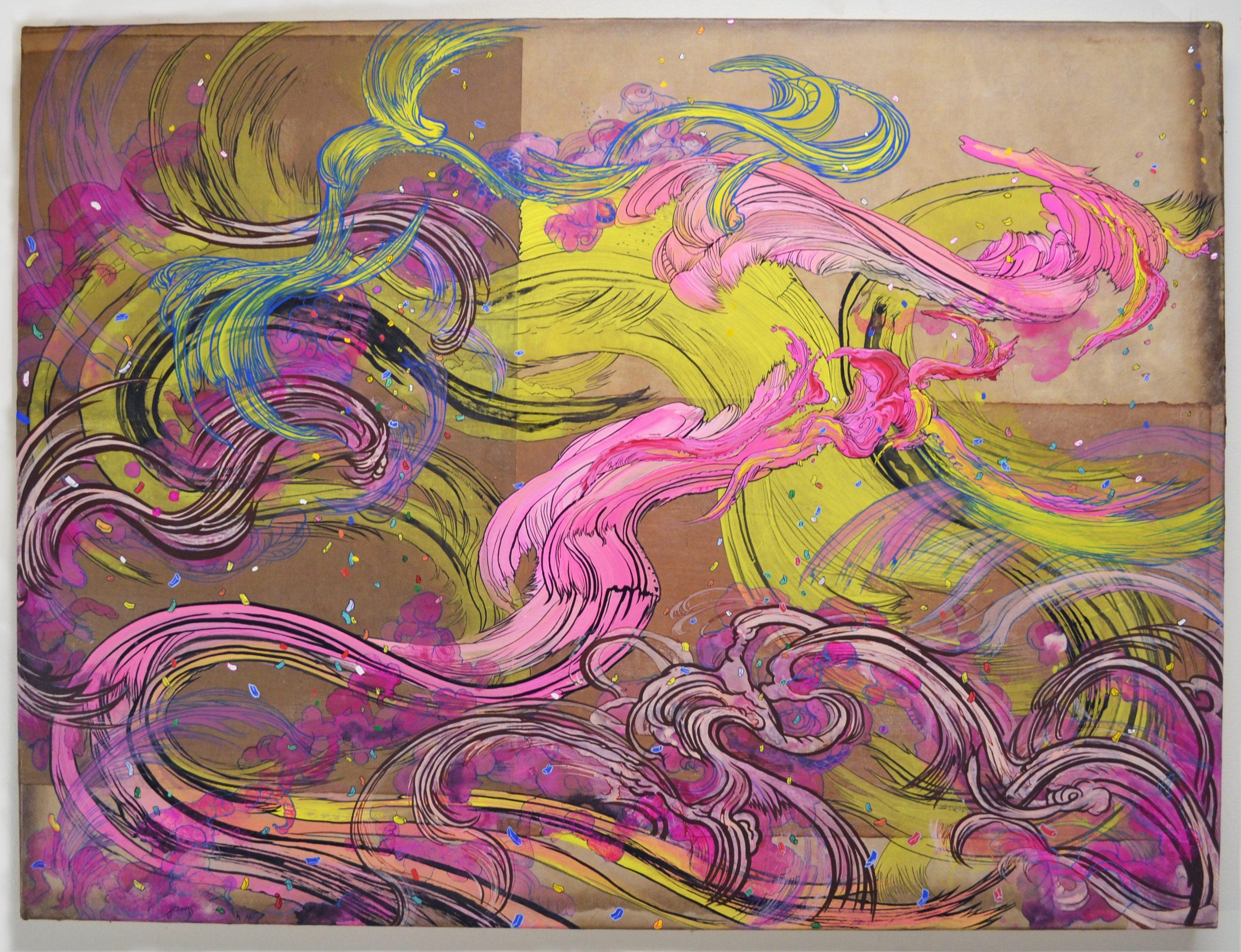 Jiha Moon, Yellowave (with Pink), 2020, Ink, acrylic on Hanji mounted on canvas, 30 × 40 in